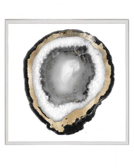 NATURAL CURIOSITIES BLACK & WHITE GEODE 1, GOLDLEAF, SILKSCREEN WITH FRAME
