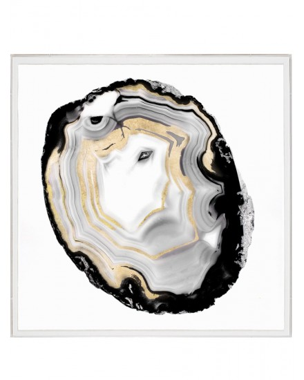 NATURAL CURIOSITIES BLACK & WHITE GEODE 3, GOLDLEAF, SILKSCREEN WITH FRAME