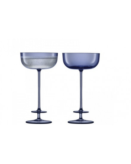LSA CHAMPAGNE THEATRE CHAMPAGNE SAUCER 210ML TIER/MIDNIGHT BLUE X2