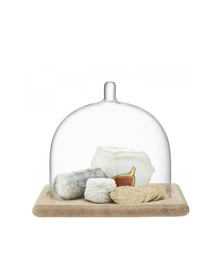 SERVE ARCH DOME & OAK BASE H20,5CM/25CM X 25CM CLEAR