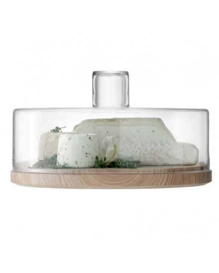 LSA LOTTA CHEESE/PASTRIES DOME CLEAR & ASH BASE D32CM