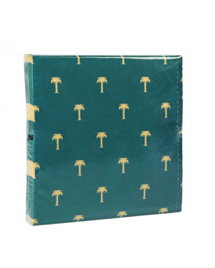 NAPKIN GOLD PALM TREE GREEN