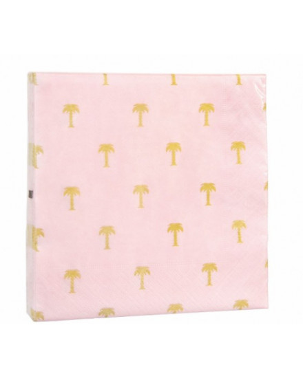 NAPKIN GOLD PALM TREE PINK