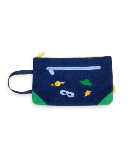 ACCESSORIES EMBROIDERED DENIM POUCH SPACE (GREEN)