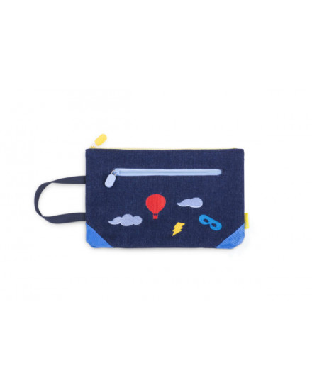 ACCESSORIES EMBROIDERED DENIM POUCH SKY (BLUE)
