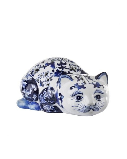 CAT PIGGY BANK IN BLUE AND WHITE