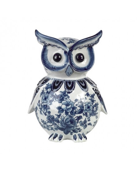 OWL PIGGY BANK IN BLUE AND WHITE