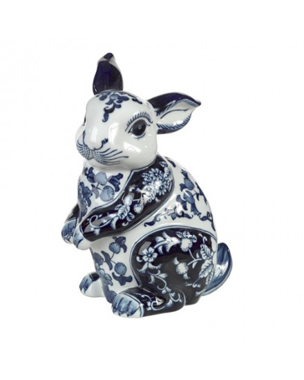 RABBIT PIGGY BANK IN BLUE AND WHITE