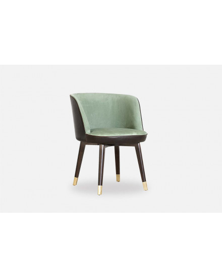 COLETTE ARMCHAIR, TUSCANY VINCI , PIPING KASHMIR FUMEE, WENGHE STAINED ASH, BRASS FEET