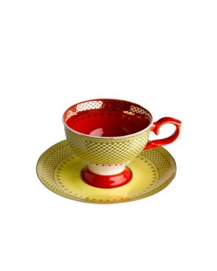 Espresso Cup & Saucer Grandma - Yellow/Red