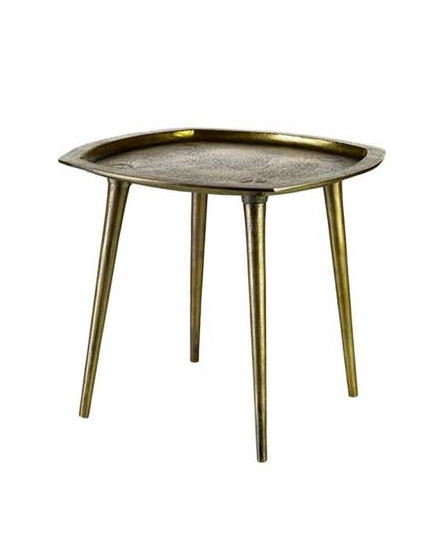 Side table square antique brass