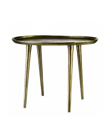 Side table oval antique brass