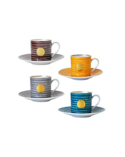 BERNARDAUD ABORO, SET OF 4 ASSORTED CUPS AND SAUCERS