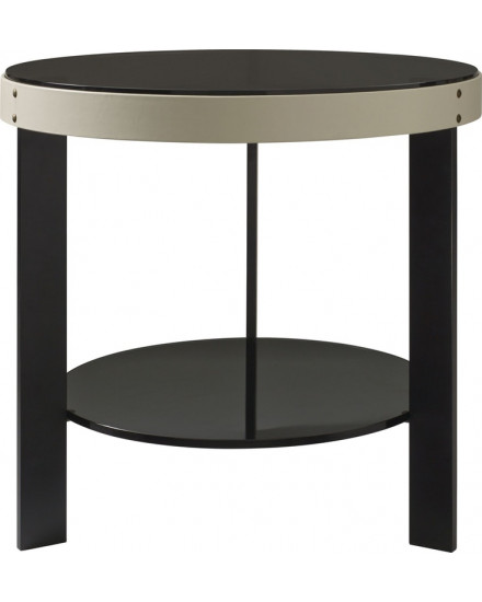 Halo Side Table.Oyster Leather,Glass Shelves