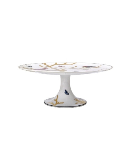 BERNARDAUD AUX OISEAUX, FOOTED CAKE PLATER