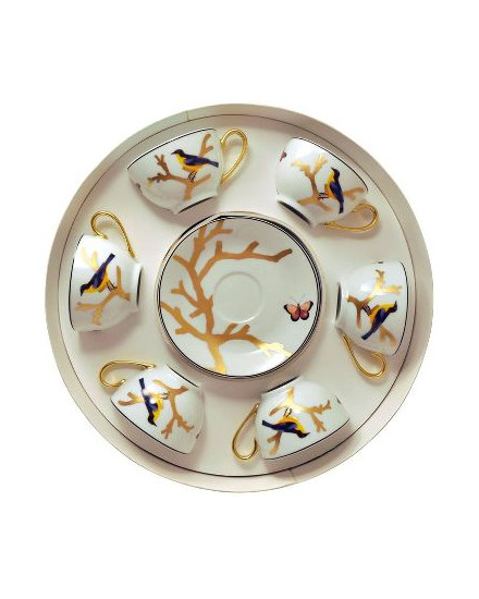 BERNARDAUD AUX OISEAUX, ROUND BOX TEA CUPS & SAUCERS, SET OF 6