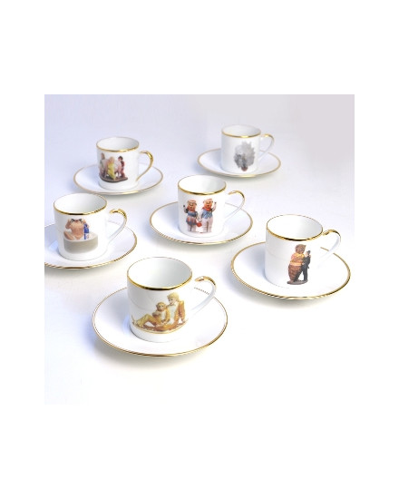 BERNARDAUD BANALITY SERIES, SET OF 6 COFFEE CUPS & SAUCERS