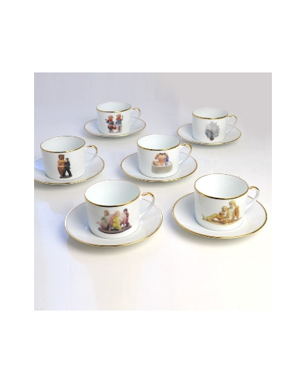 BERNARDAUD BANALITY SERIES, SET OF 6 TEA CUPS & SAUCERS