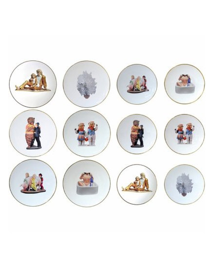 BERNARDAUD BANALITY SERIES, SET OF 6 DINNER PLATES 10.6 in AND 6 SALAD PLATES 8.5 in