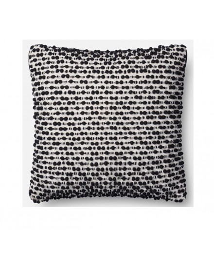 PILLOW-WHITE/BLACK 18X18