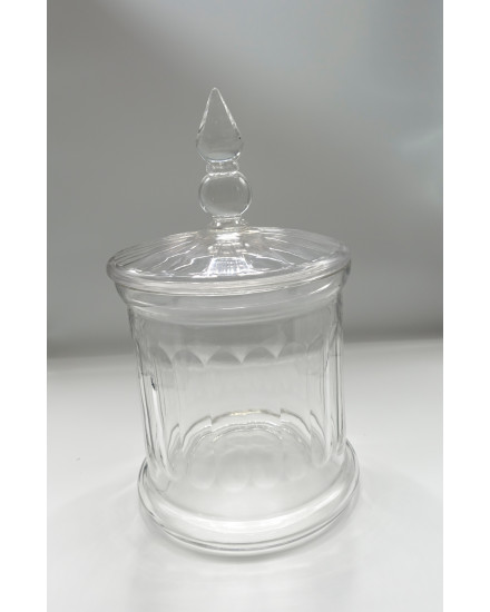 GLASS LEAF JAR W/GLASS COVER