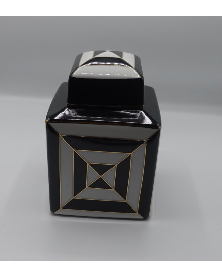 SQ BOX BLACK/WHITE PORCELAIN