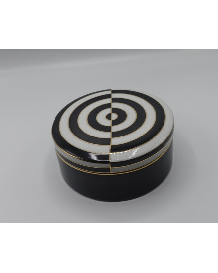 ROUND BOX BLACK/WHITE PORCELAIN