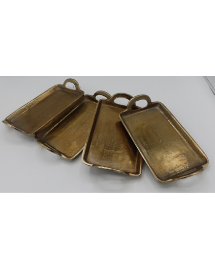 S/4 MINI RECT TRAY A GOLD + HANDLE 20x11