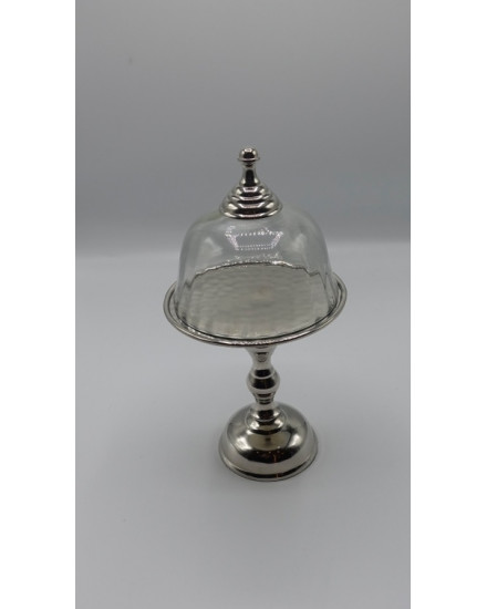 ROUND DISH ON STAND IN NICKLE + GLASS DOME D12.5x26h