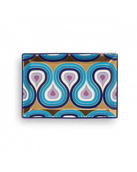Jonathan Adler Milano Rectangle Tray - Blue/Gold