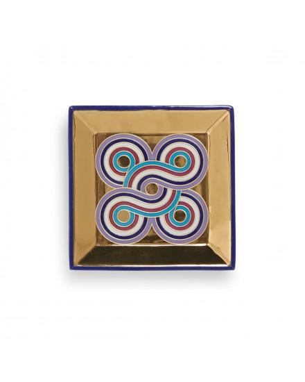 Jonathan Adler Milano Square Tray - Blue/Gold
