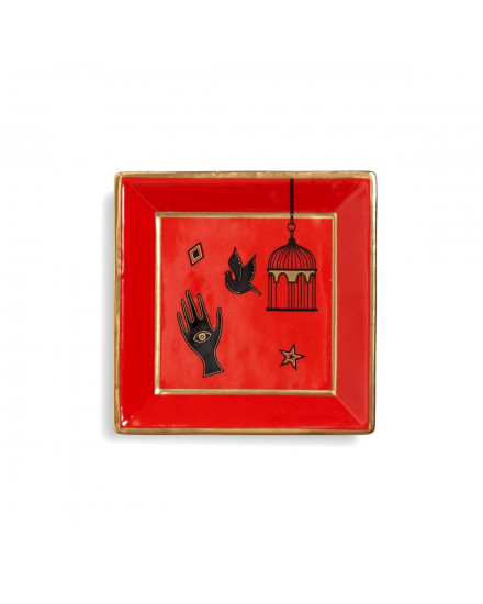 Jonathan Adler Bijoux Square Tray - Red