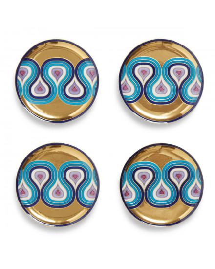 Jonathan Adler Milano Coasters - Gold/Blue