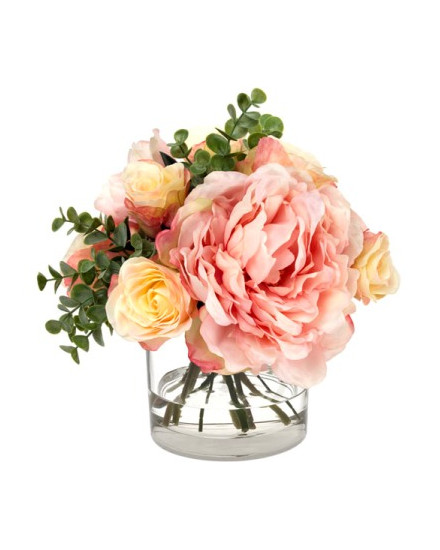 BLM-MXPNYRSE19 Blooms - Mixed peony and rose bouquet in glass cylinder