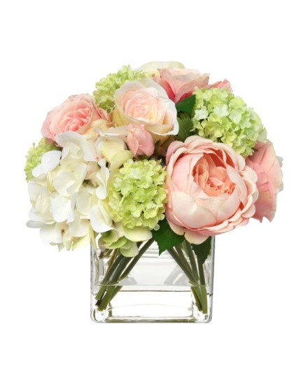 BLM-PKHYD.RSE16 Blooms - Pale pink hydrangea and rose bouquet in glass cube