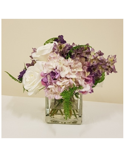 BLM-LARKHYD20 Blooms - Larkspur and hydrangea in glass cube