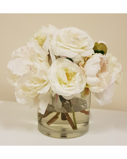 CAMPNY.GLS Camellia and peony bouquet in low cylinder