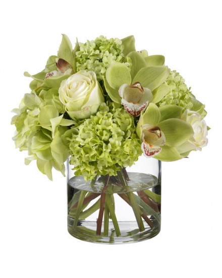 HYDORC.GLS Hydrangea and orchid bouquet in glass cylinder