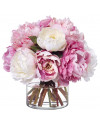 LG.PEONY Large mixed peony bouquet in glass cylinder