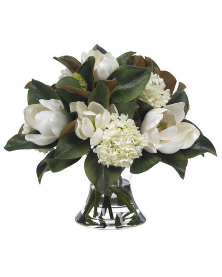 LGMAG.HYD Large magnolia and hydrangea in cinched vase