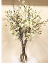 MXBLSM.GLS Mixed blossom branches in tall vase with gold band